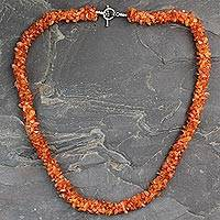 Carnelian long beaded necklace, 'Sunset Glow' - Beaded Carnelian Necklace Artisan Crafted Jewelry