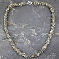 Labradorite long beaded necklace, 'Sensuous' - Fair Trade Beaded Labradorite Necklace