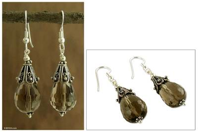 Smoky quartz dangle earrings, 'Rajasthan Melody' - Smoky quartz dangle earrings