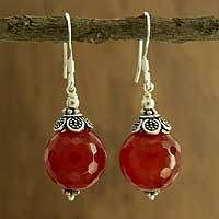 Carnelian dangle earrings, 'Jaipur Sonnet' - Carnelian dangle earrings