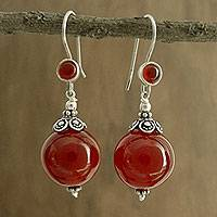 Carnelian dangle earrings, 'Gujurati Ode' - Carnelian dangle earrings