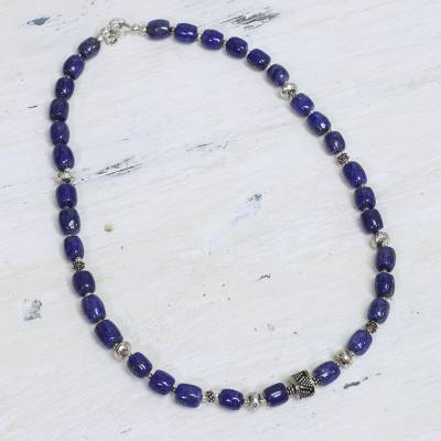 Lapis lazuli beaded necklace, India Glamour