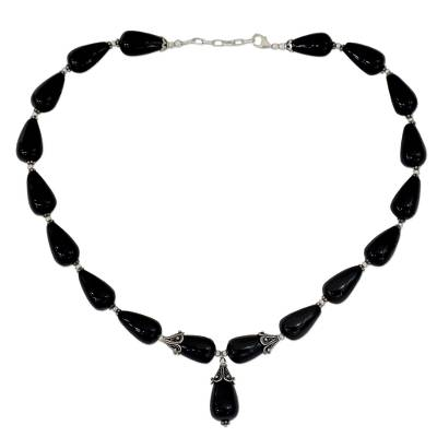 Onyx Y necklace