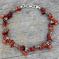 Carnelian anklet, 'Summer Warmth' - Carnelian anklet