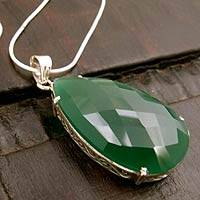 Sterling silver pendant necklace, 'Evergreen' - Sterling silver pendant necklace