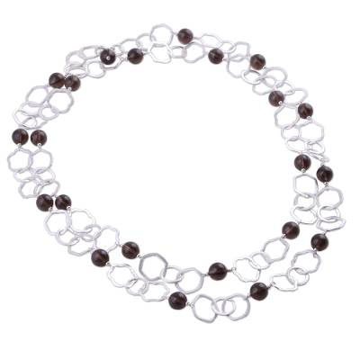 Smoky quartz long necklace