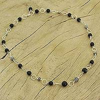 Onyx long necklace, 'Midnight in Jaipur' - Hand Made Women's Sterling Silver and Onyx Necklace