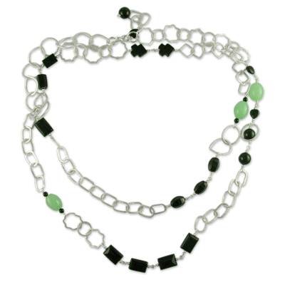 Jade and onyx long necklace