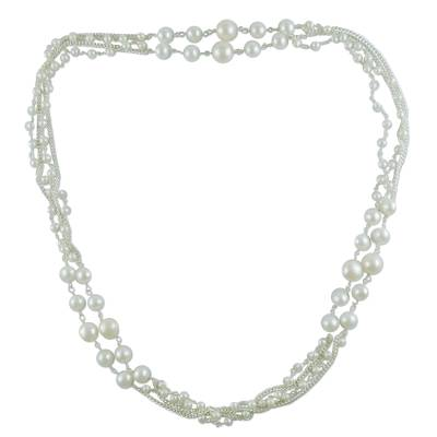 Pearl long chain necklace
