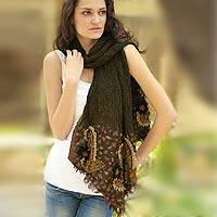 Wool scarf, 'Paisley Muse' - Paisley Wool Embroidered Scarf