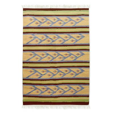 Fair Trade Geometric Wool Area Rug (4x6)