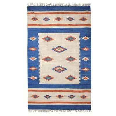 Wool rug, 'Diamond Star' (5x8) - Hand Loomed Wool Area Rug Dhurrie from India 5x8 ft
