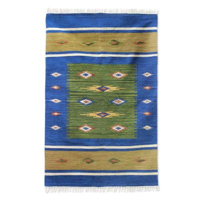 Wool Blue and Green Area Rug Handmade (4x6)
