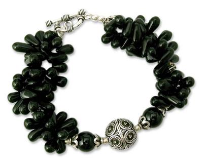 Artisan Crafted Black Onyx Torsade Bracelet with Silver