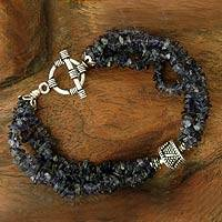Iolite beaded bracelet, 'Regal Blue' - Iolite beaded bracelet