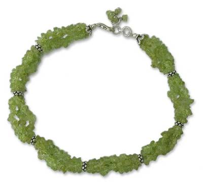 Fair Trade Peridot Birthstone Sterling Silver Beaded Anklet