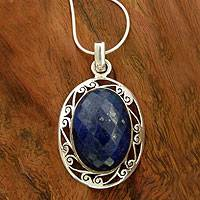 Lapis lazuli pendant necklace, 'Seductive Blue' - Women's Necklace Sterling Silver and Lapis Lazuli Jewelry