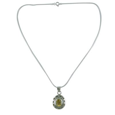 Sterling Silver Necklace with Citrine from India Jewelry