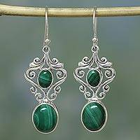 Malachite dangle earrings, 'Natural Majesty' - Handcrafted Sterling Silver Malachite Earings from India