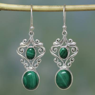 Malachite dangle earrings, 'Natural Majesty' - Fair Trade Jewelry Sterling Silver Malachite Earrings
