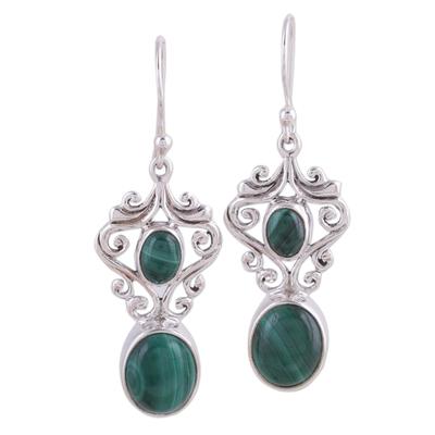 Fair Trade Jewelry Sterling Silver Malachite Earrings
