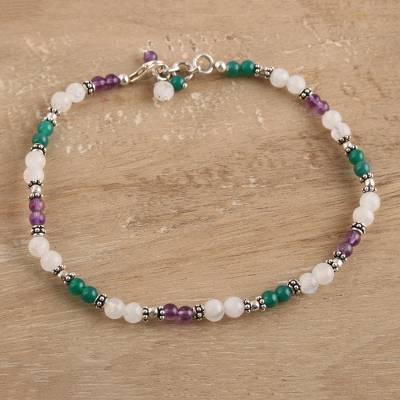 Amethyst and rainbow moonstone anklet, Head Over Heels