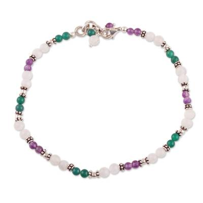 Amethyst and Rainbow Moonstone Anklet