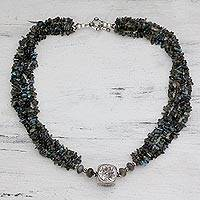 Labradorite strand necklace,