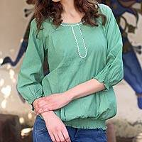 Cotton blouse, 'Jade Rose' - Cotton Blouse Short Puffy Sleeves India