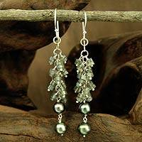 Pearl and labradorite dangle earrings, 'Winter Kiss' - Hand Crafted Pearl and Labradorite Dangle Earrings