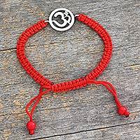 Diamond charm bracelet, 'Solitary Crimson Om' - Diamond charm bracelet