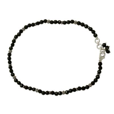 Fair Trade Black Onyx Sterling Silver Beaded Anklet from NOVICA
