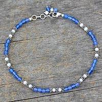 Chalcedony and cultured pearl anklet, 'View of the Sky' - Chalcedony and Cultured Pearl Anklet