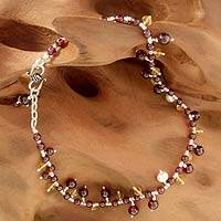 Garnet and pearl anklet, 'Love Riches' - Pearl Garnet and Citrine Handmade Ankle Jewelry
