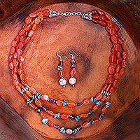 Carnelian and amethyst jewelry set, 'Enthralled' - Carnelian and amethyst jewellery set