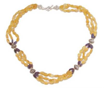 Citrine and lapis beaded long necklace