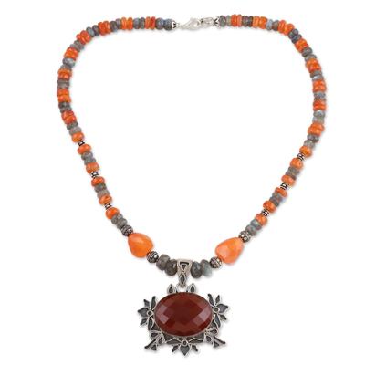 Artisan Silver Labradorite and Carnelian Necklace