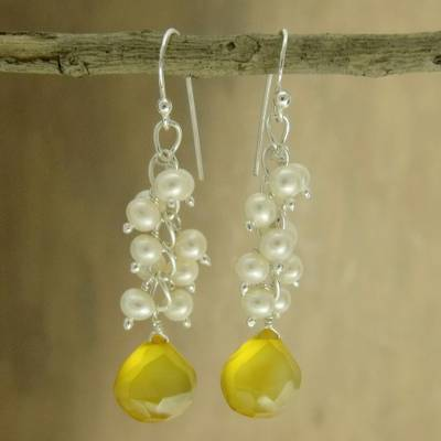 Pearl and chalcedony cluster earrings, 'Golden Shimmer' - Pearl and chalcedony cluster earrings
