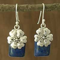 Lapis lazuli flower earrings, 'Blue Lily'