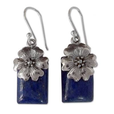 Fair Trade Floral Sterling Silver and Lapis Lazuli Earrings