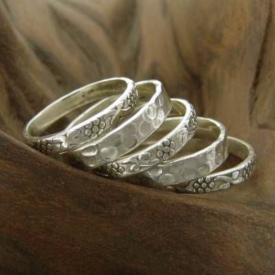 Sterling silver stacking rings, 'Versatility' (set of 5) - 5 Stackable Band Rings Sterling Silver India Jewelry