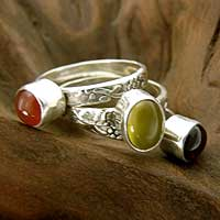 Garnet and carnelian stacking rings, 'Mystical Trio' (set of 3)