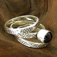 Garnet stacking rings, 'Lone Rose' (set of 3)