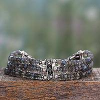 Labradorite beaded bracelet, 'Mystery of Love' - Hand Made Labradorite Beaded Bracelet with Sterling Silver