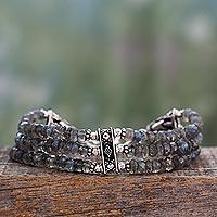 Labradorite beaded bracelet, 'Mystery of Love'