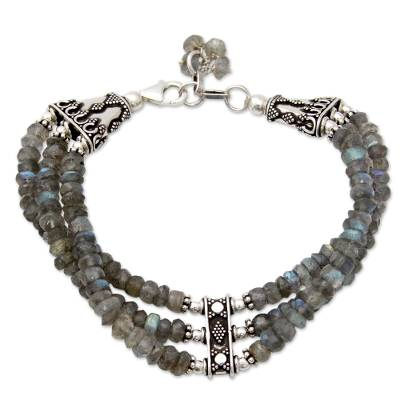 Hand Made Labradorite Beaded Bracelet with Sterling Silver