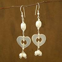 Pearl and moonstone heart earrings, 'Happy Hearts' - Pearl and moonstone heart earrings