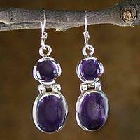 Amethyst dangle earrings, 'Duet' - Amethyst Earrings Handcrafted with Sterling Silver