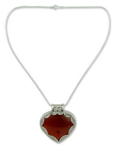 Hand Made Sterling Silver with Carnelian Heart Necklace