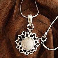 Moonstone pendant necklace, 'Midnight Sun' - Fair Trade Jewelry Sterling Silver and Moonstone Necklace